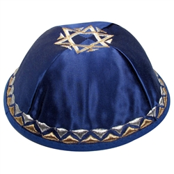 Blue Satin Star Kippah
