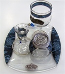 Glass Havdallah Set with Blue Flower Design