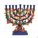Painted Metal Lazer Cut Menorah -Pomegranate Tree Menorah