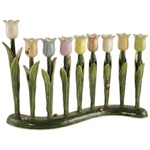 Multi-colored Pastels Tulip Menorah by Quest