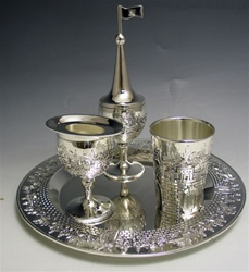 Jerusalem Havdallah Set Shiny Pewter
