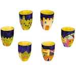Jerusalem Miniature Wooden Kiddush Cups - set of six