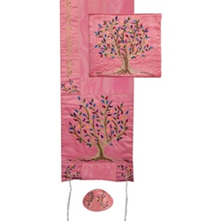 Embroidered Raw Silk Tallit - Tree of Life Pink