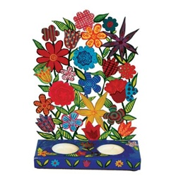 Painted Metal Laser Cut Shabbat Candlesticks - Flowers by Emanuel