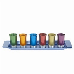 Multicolor Anodized Aluminum Cups with Tray by Emanuel