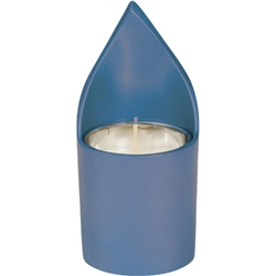 Anodized Aluminum Memorial Candle Holder - Blue