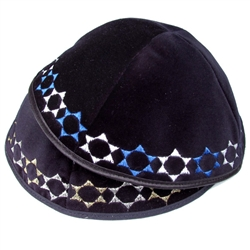 Navy Velvet Kippah with Star Border