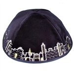 Navy Velvet Embroidered Jerusalem Kippah