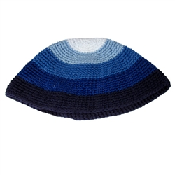 Blue Striped Bucharian Style Knit Kippah