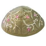 Embroidered Flower Kippah - Green