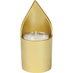Anodized Aluminum Memorial Candle Holder - Gold