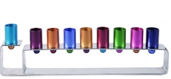 Colorful Anodized Aluminum Frame Menorah by Emanuel