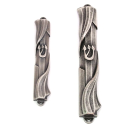 Pewter Twist Mezuzah Case