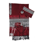 Gabrieli Dark Red Silk Tallit Set