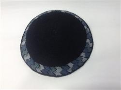 Black Hand Knit Kippah with Zig-Zag Design