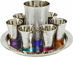 Hammered Nickel Kiddush Cup Set by Emanuel