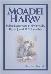 Moadei HaRav: Public Lectures on Festivals by Rabbi Joseph B. Soloveitchik