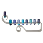 Anodized Aluminum Blue Curl Menorah by Emanuel
