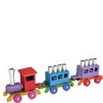 Colorful Aluminum Train Menorah by Emanuel