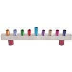 Multicolor Hammered Strip Menorah by Emanuel