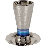 Hammered Kiddush Goblet and Plate - Blues by Emanuel