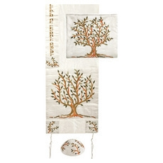 Yair Emanuel Embroidered Silk Tallit - Tree of Life