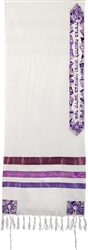 Yair Emanuel Silk Tallit - Magen David Purple