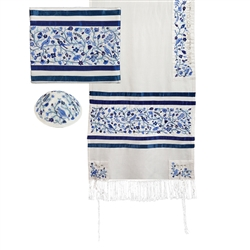 Embroidered Matriarch Tallit - Blue