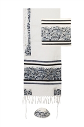 Embroidered Jerusalem Tallit - Black