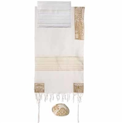Embroidered Cotton Tallit - Jerusalem Gold