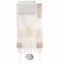 Embroidered Cotton Tallit - Jerusalem Silver