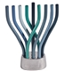 Rotating Menorah in Blues with Hammered Base by Emanuel