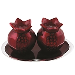 Pomegranate Salt and Pepper Shakers with Saucer