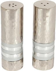 Hammered Salt and Pepper Shaker Set with Silver Rings by Emanuel