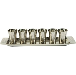 Nickel Hammered 6 Liquor + Tray Set