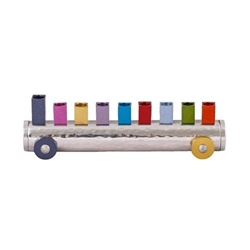 Hammered and Anodized Train Menorah by Emanuel