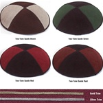 Bulk 2-Tone Suede Kippot - with Custom Imprinting