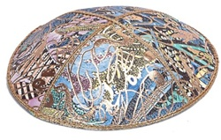 Bulk Leather Foil Embossed Kippot