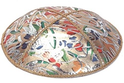 Bulk Leather Foil Embossed Kippot (FL104) - With Custom Imprinting