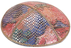 Bulk Leather Foil Embossed Kippot (FL107) - No Imprinting
