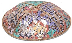 Bulk Leather Foil Embossed Kippot (FL112) - No Imprinting