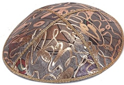 Bulk Leather Foil Embossed Kippot (FL114) - No Imprinting