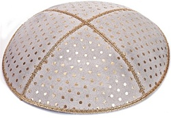 Bulk Suede Foil Embossed Kippot (GL62) - With Custom Imprinting