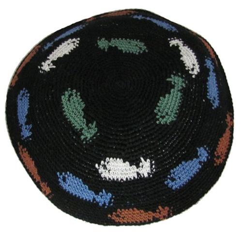 Black Knit Kippah With Fish Design All Judaica