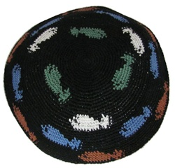 Black Knit Kippah with Fish Design