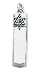 Round Mezuzah with Blue Star Pendant