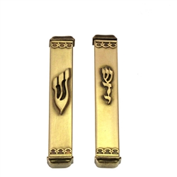 Antique Brass Finish Mezuzah Case