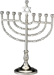 Traditional Silvertone Finish Menorah