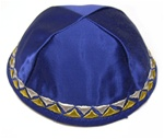 Satin Kippah with Embroidered Geometric Border