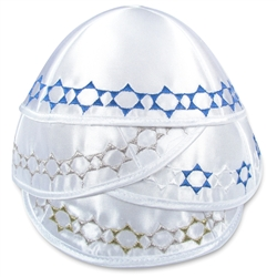 White Satin kippah with Star Border